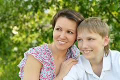 Mother with son in autumn park Stock Image