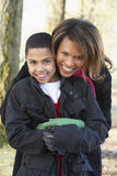 Mother And Son On Autumn Walk Stock Image