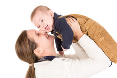 Mother and son. Mother with baby isolated in a white background Stock Images