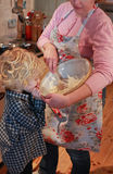 Mother and son baking. Together in kitchen stock photo