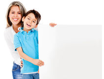 Mother and son with banner Royalty Free Stock Photography