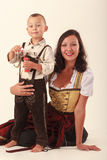 Mother and son in Bavarian costume Stock Photos
