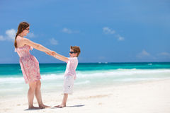 Mother and son at beach Royalty Free Stock Image