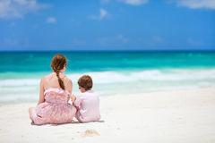 Mother and son at beach royalty free stock photos