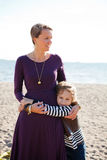 Mother and son at beach. Royalty Free Stock Photos