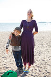 Mother and son at beach. Stock Photo