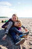 Mother and son at beach. Stock Images