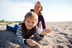 Mother and son at beach. Stock Photography