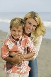 Mother and Son on Beach Stock Photography