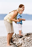 Mother and son at beach. Mother and son at the beach stock photos