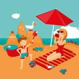 Mother and son on a beach. Family vacation. Family vacation near a sea. Cartoon vector illustration