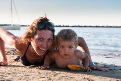 Mother and son at the beach Stock Image