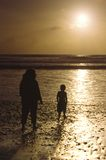 Mother and son on the beach in San Diego Stock Photography