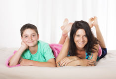 Mother and son in bed Stock Photos