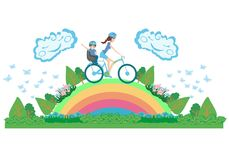 Mother and son on a bicycle - abstract card Royalty Free Stock Image
