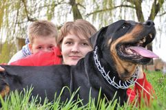 Mother, son and big dog royalty free stock image