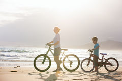 Mother and son with bikes Stock Image