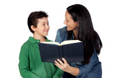 Mother and son with a book Stock Photos