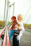 Mother and son on the bridge Stock Photos