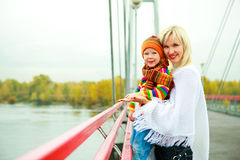 Mother and son on the bridge Stock Image