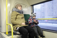 Mother with son in the bus Stock Image
