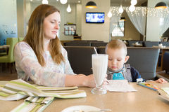 Mother and the son in cafe Royalty Free Stock Photography