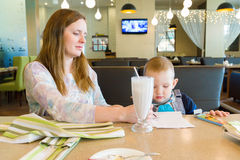 Mother and the son in cafe Stock Photography