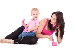 Mother son call Stock Images