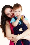 Mother with son carring on hands 1 Royalty Free Stock Photo
