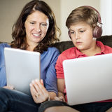Mother Son Casual Bonding Activity Studying Concept Stock Image