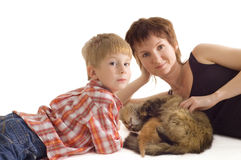 Mother and son with cat and kitten. Mother and son with cat and eating kitten isolated on white background Royalty Free Stock Photos