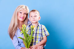 Mother and son celebrate mothers day. Stock Image