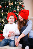 Mother and son celebrating Christmas Stock Photo
