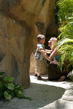 Mother and son chatting. A mother talks to her son outside Royalty Free Stock Photography