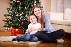 Mother and son at Christmas Royalty Free Stock Images