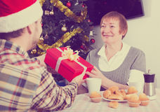Mother and son Christmas gifts Stock Images