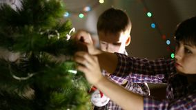 Mother And Son At Christmas stock footage