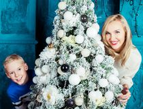 Mother and son at Christmas Royalty Free Stock Photography