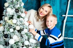 Mother and son at Christmas Royalty Free Stock Image