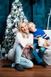 Mother and son at Christmas Stock Photo