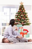 Mother and son on christmas morning Stock Image