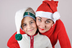 Mother and son Christmas portrait Stock Photo
