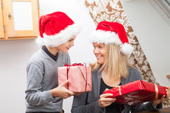 Mother and Son and Christmas presents Royalty Free Stock Photos