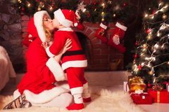 Mother and son in Christmas room Stock Photography
