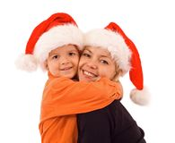 Mother and son at christmas time - isolated Stock Photography