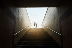 Mother and son climbing stairs Stock Photography