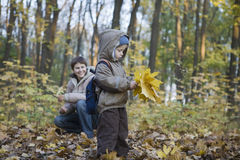 Mother And Son Collecting Leaves In Park. Mother and little son collecting autumnal leaves in park royalty free stock photos