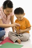 Mother and son coloring. Stock Image