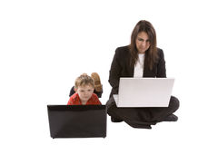 Mother son computer Royalty Free Stock Images