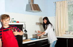 Mother son cooking Royalty Free Stock Photo